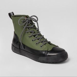 Hunter Dipped Canvas High Top Sneakers in Olive